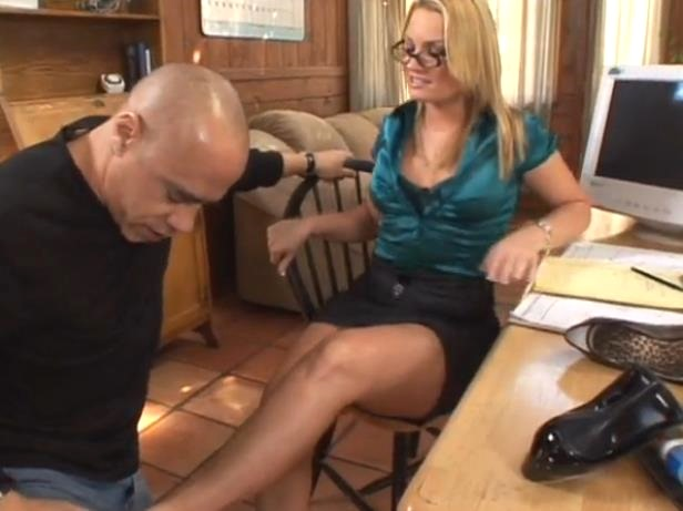 nerdy blonde gives him a footjob while he eats her pussy